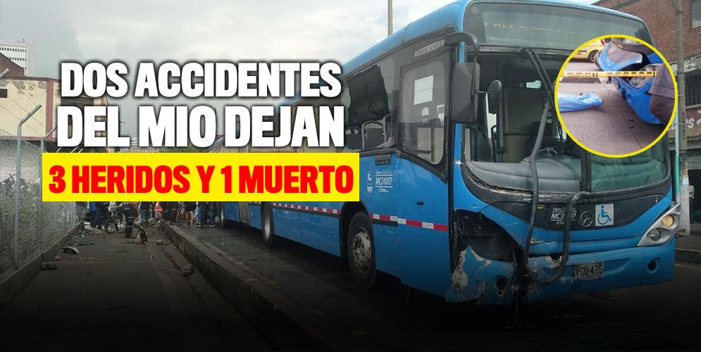 Dos accidentes del MIO deja 1 muerto y 3 heridos