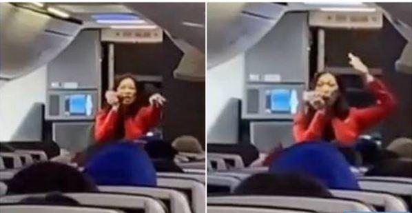 Vean la particular forma de esta azafata para entregar las instrucciones de seguridad del vuelo