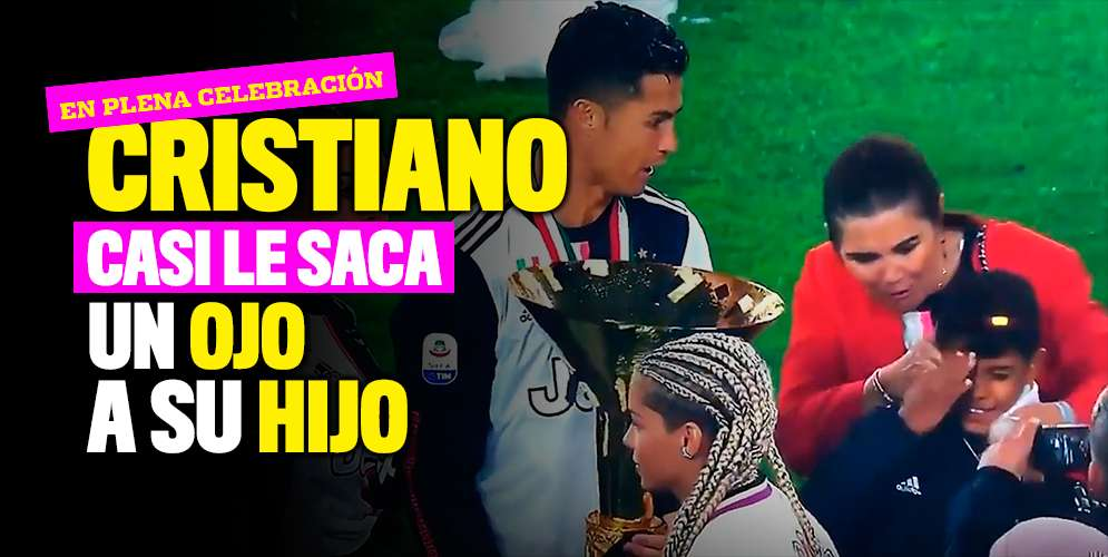 Cristiano Ronaldo le pegó a su hijo en plena celebración