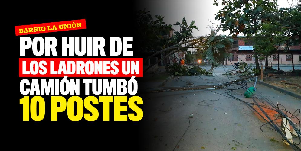 Un camión derribó 10 postes en el barrio La Unión