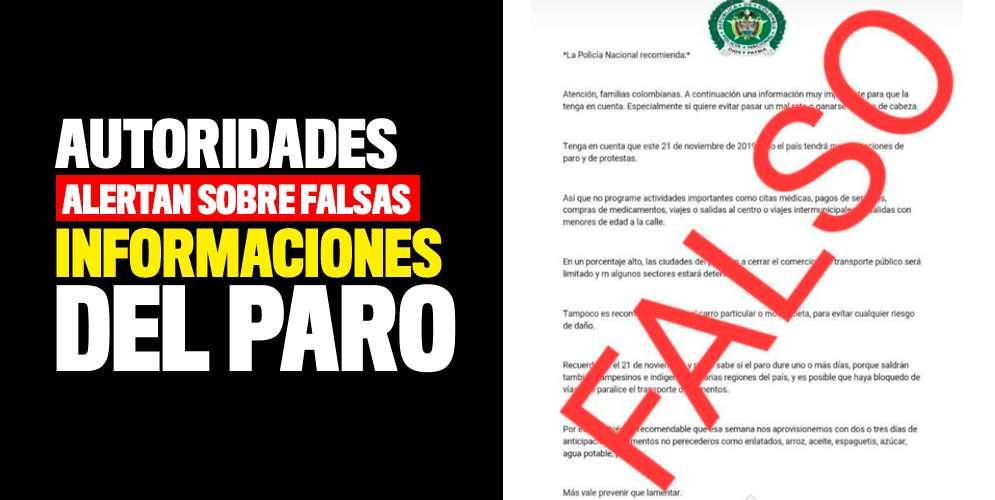 ¡Ojo! Autoridades alertan sobre falsas informaciones del paro