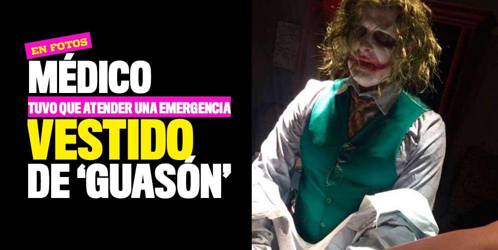 FOTOS: Médico tuvo que atender una emergencia vestido de 'Guasón'