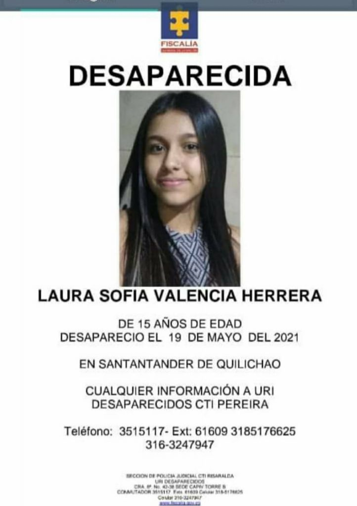 Buscan a Laura Sofía desde hace tres semanas