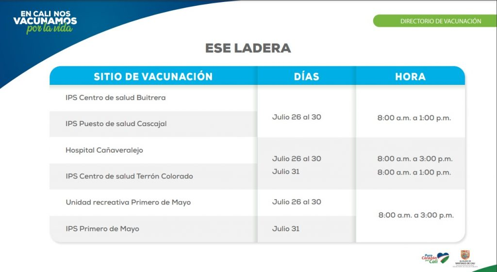 Estos son los puntos de vacunación en Cali para esta semana