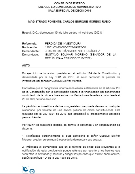 Gustavo Bolívar podría perder su investidura por financiar a la 'primera línea'